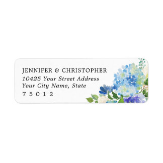 Blue Watercolor hydrangeas Return Address Labels