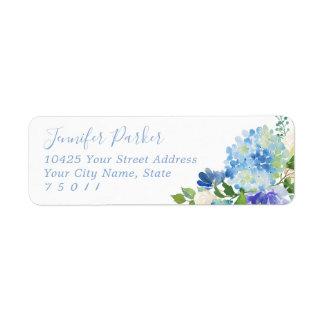 Blue Watercolor hydrangeas Return Address Labels