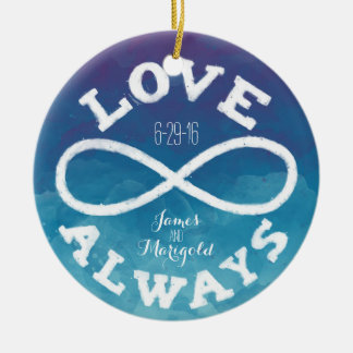 Blue Watercolor Infinity Love Wedding Date, Names Ceramic Ornament