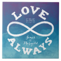 Blue Watercolor Infinity Love Wedding Date, Names Ceramic Tile
