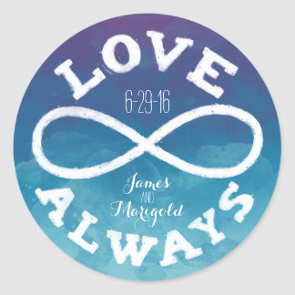 Blue Watercolor Infinity Love Wedding Date, Names Classic Round Sticker
