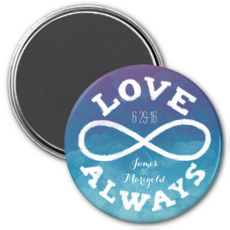 Blue Watercolor Infinity Love Wedding Date, Names Magnet