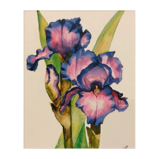 Blue watercolor irises acrylic wall art