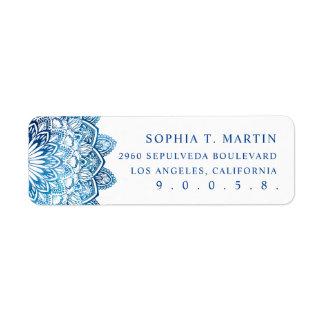 Blue Watercolor Mandala Medallion Yoga Meditation Label