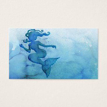 Beach Themed Blue Watercolor Mermaid Business Card