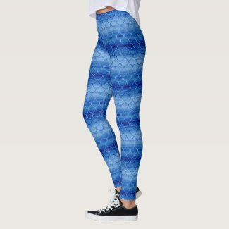 Blue Watercolor Mermaid Scale Pattern Leggings