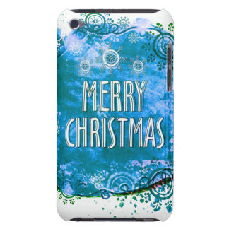 Blue Watercolor Merry Christmas Snokflakes iPod Touch Case