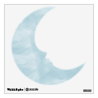 Blue Watercolor Moon Wall Decal