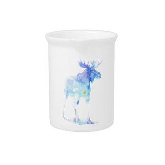 Blue watercolor Moose illustration Drink Pitcher