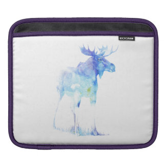 Blue watercolor Moose illustration iPad Sleeve