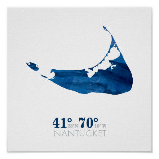 Blue Watercolor Nantucket Map with Coordinates Poster
