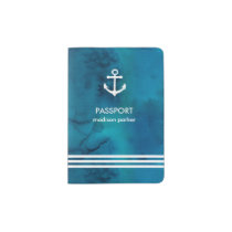 Blue Watercolor Nautical Anchor and Stripes Passport Holder