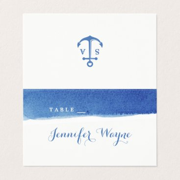 Blue watercolor nautical beach wedding place card