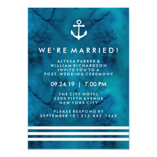 Blue Watercolor Nautical Post Wedding Ceremony Card