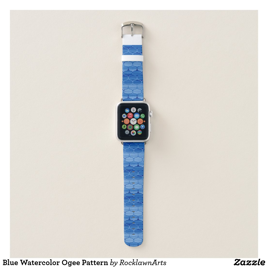 Blue Watercolor Ogee Pattern Apple Watch Band