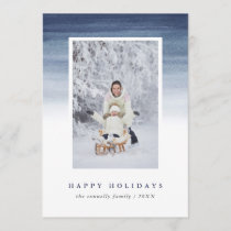 Blue Watercolor Ombre | Holiday Photo