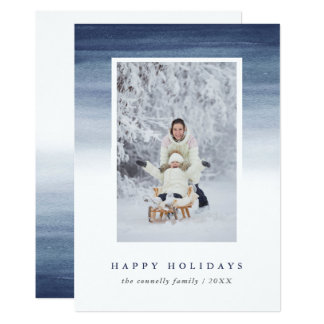 Blue Watercolor Ombre   Holiday Photo Card