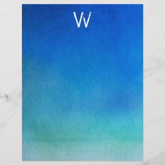 Blue Watercolor Ombre Monogram