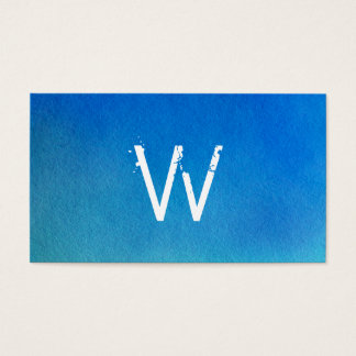 Blue Watercolor Ombre Monogram Business Card