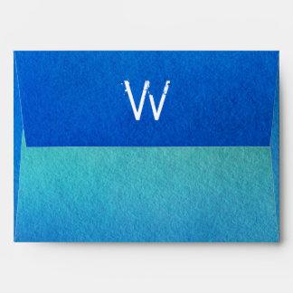 Blue Watercolor Ombre Monogram Envelopes