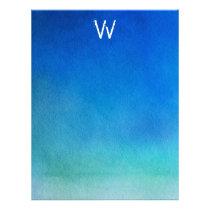 Blue Watercolor Ombre Monogram Letterhead