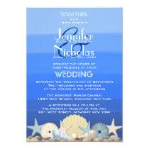Blue Watercolor Ombre Nautical Beach Wedding Invitation