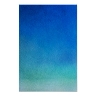 Blue Watercolor Ombre Poster