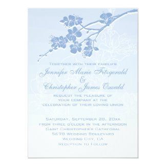 Blue Watercolor Ombre Spring Blossoms Wedding Card