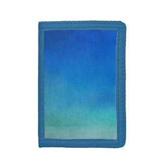 Blue Watercolor Ombre Trifold Wallet