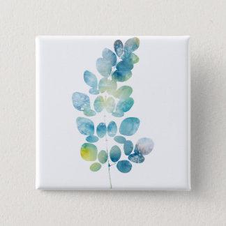 Blue Watercolor Paint Leaf Button