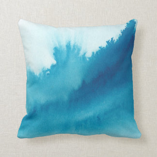 Blue watercolor painting throw pillow