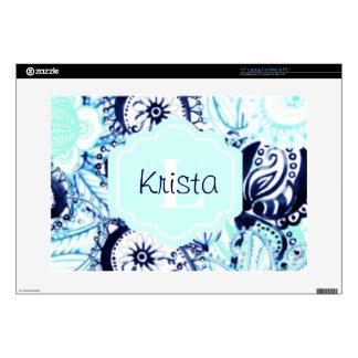 """Blue Watercolor Paisley Print w/Full Name Monogram 15"""" Laptop Skins"""