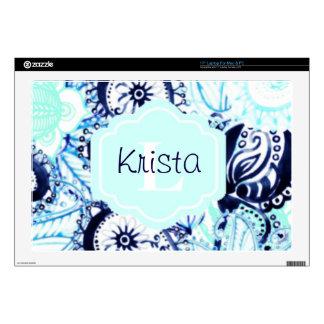 """Blue Watercolor Paisley Print w/Full Name Monogram 17"""" Laptop Decal"""