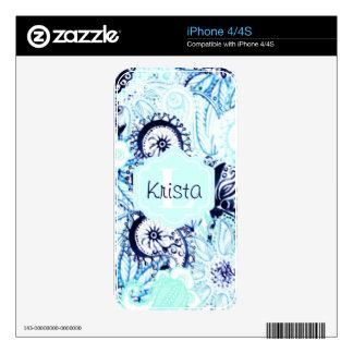 Blue Watercolor Paisley Print w/Full Name Monogram iPhone 4S Skins
