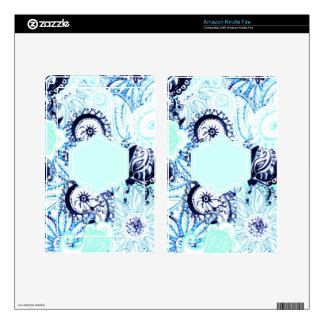 Blue Watercolor Paisley Print w/Full Name Monogram Kindle Fire Decal