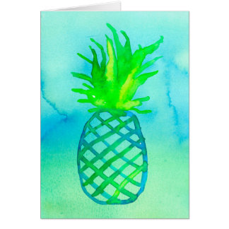 Blue Watercolor Pineapple Thank You Card
