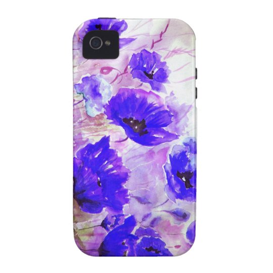 Blue Watercolor Poppies. iPhone 4/4S Case
