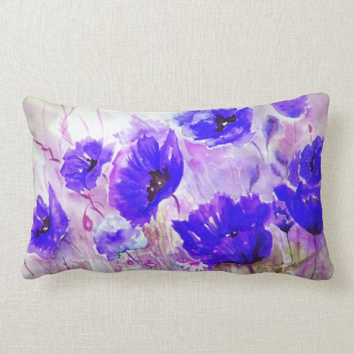 Blue watercolor poppies. pillow