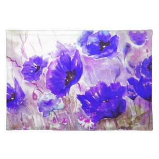 Blue Watercolor Poppies. Placemat