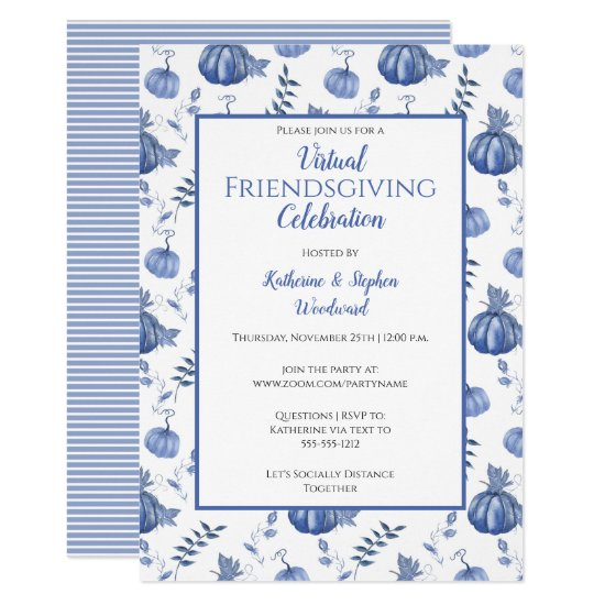 Blue Watercolor Pumpkin Virtual Friendsgiving Invitation