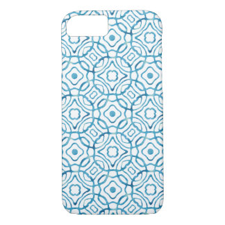 Blue Watercolor Quatrefoil Block Print iPhone 7 Case