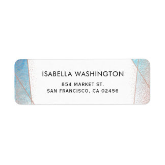 Blue Watercolor & Rose Gold Geometric Wedding Label