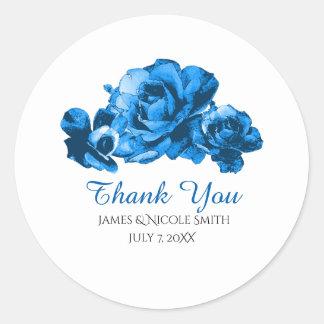 Blue Watercolor Roses Elegant Wedding Favor Classic Round Sticker