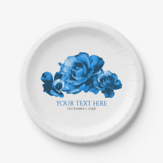 Blue Watercolor Roses Elegant Wedding Paper Plate