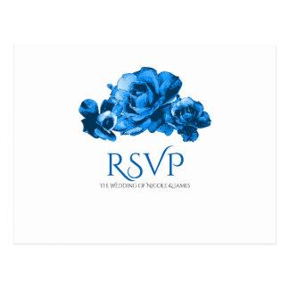 Blue Watercolor Roses Elegant Wedding RSVP Postcard