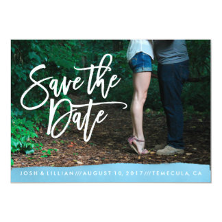 Blue Watercolor Save the Date photo card