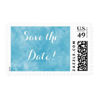 Blue Watercolor Save the Date Postage Stamp