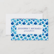 Blue Watercolor Scale Pattern Business Card