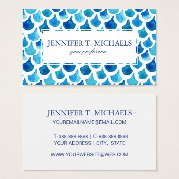 Beach Themed Blue Watercolor Scale Pattern Business Card