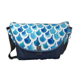 Blue Watercolor Scale Pattern Messenger Bag